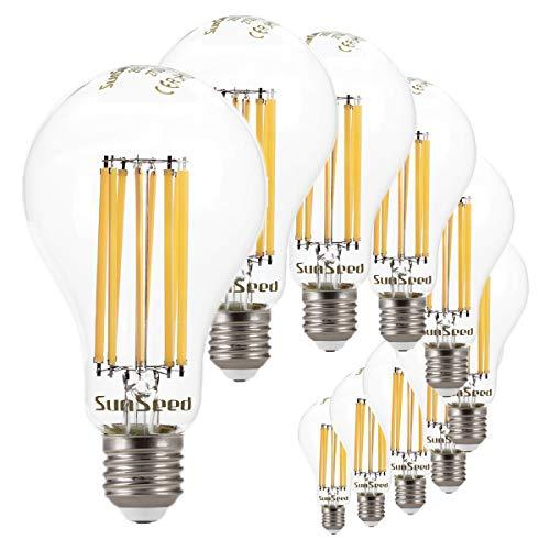 SunSeed 10 x Bombilla E27 Filamento LED 18 W Gota A75 2500...