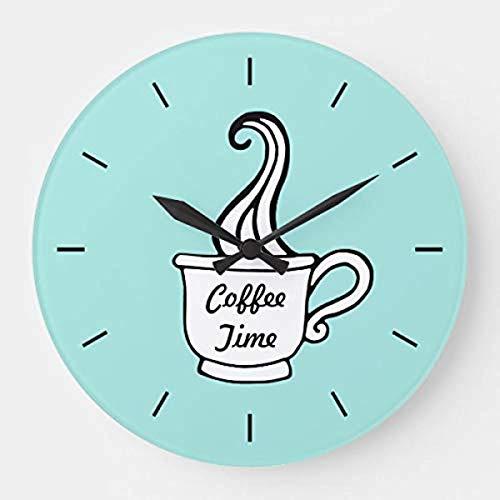 prz0vprz0v Reloj de pared rústico 12' decoración de pared Retro Aqua Cenador Café Cocina Reloj de pared de madera decorativo redondo reloj colgante