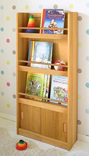 BioKinder 22824 Paula Holzregal Kinderregal Bücherregal für Kinder mit Schiebetüren aus Massivholz Erle 23 x 60 x 130 cm