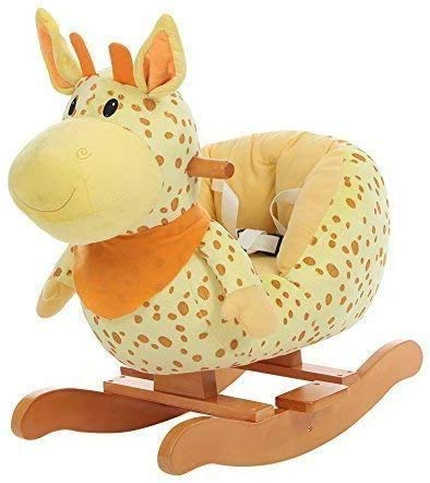 LLKK Baby Rocking Horse Wooden, Plush Rocking Horse Toy, Yellow Giraffe Rocking Horse for Baby 1-3 Years, Wooden Rocking Horse/Toddler Rocker/Baby Rocker/Child Rocking Horse Gift/Boy&Girl Toy