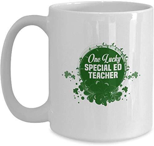 St. Patrick's Day Special Ed Lehrer Geschenk - Shamrock One Lucky - Weiße Kaffeetasse für Weihnachten Thanksgiving Festival Freunde Geschenk Geschenk