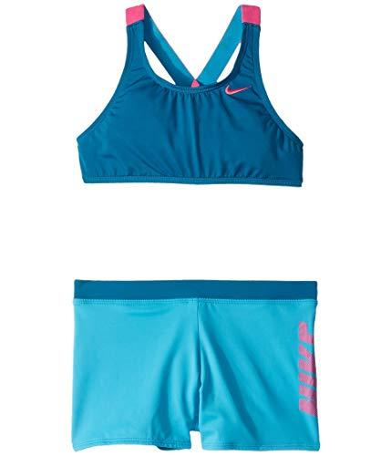 Nike Kids Girl's Rift Prism Cross-Back Bikini and Shorts (Little Kids/Big Kids) Green Abyss XS (6X Little Kids)