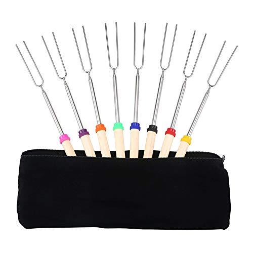 Marshmallow, set di 8 bastoncini telescopici in acciaio inox, spiedini in legno, forchette per barbecue, estensibili fino a 32 pollici di lunghezza per campeggio, falò, braciere, hot dogs e narghilè