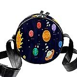 Eestars Petit sac à bandoulière rond matelassé pour femme avec sac à bandoulière en toile (infographie du système solaire)