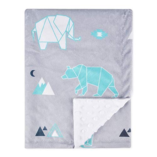 BORITAR Baby Blanket Soft Minky with Double Layer Dotted Backing, Lovely Polar Bear Printed 30 x 40 Inch, Grey Receiving…