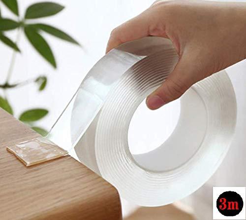 【SanDoll】Amazonから最速発送 【長さ3m×幅3�p×厚み2�o】両面テープ 魔法のテープ ナノテープ 超強力 粘着テープ 洗って使える 魔法の両面テープ マジックテープ 繰り返し使える 養生テープ 透明 滑り止めテープ地震 倒れ込み防止 家具倒れ
