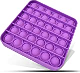 Push Pop Bubble Sensory Fidget Toy Autism Special Needs Stress Reliever, Silicone Squeeze Sensory Toy, for Family and Friends (Square, Purple)