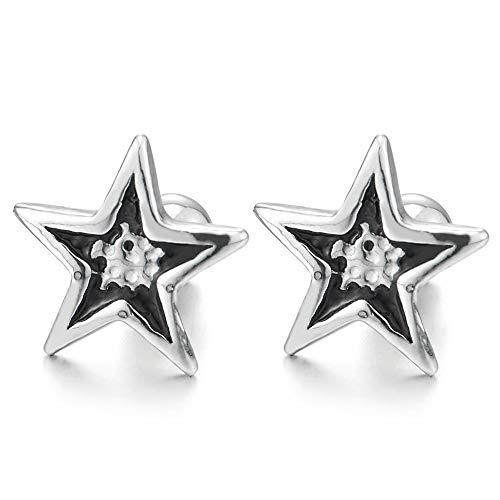 Hombres Mujer Puntos Pentagrama Estrella Pendientes con Negro Esmalte, Acero Inoxidable, Cierre Tornillo, 2 Piezas