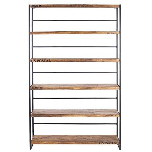 Indhouse - Vermon Scaffale libreria in stile industriale, in metallo e legno