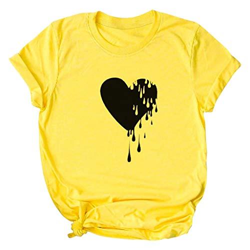 yazidan Damen Große Größen T-Shirt Herzförmige Druck Shirts Frauen Kurzarm Rundhals Oberteil Teenager Mädchen Tops Tees Hemd Blusen S-5XL