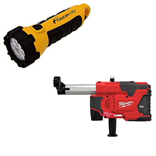 Toucan City LED Flashlight and Milwaukee M12 12-Volt Lithium-Ion Cordless HammerVac Universal D Extractor Kit W/(2) 1.5Ah Batteries, Charger & Case 2306-22