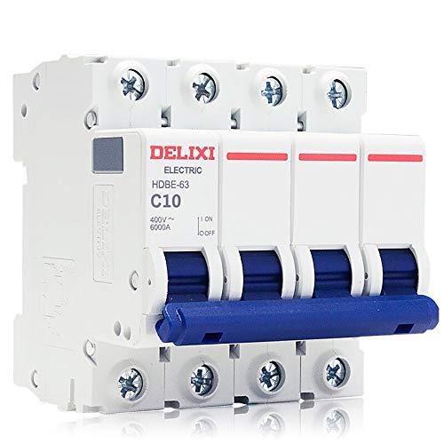 TDHDD Bloqueador trifásico Interruptor de Cuatro Hilos 4P 63A Abierto 380v Interruptor de Aire pequeño dz47 actualización del Cortocircuito 4P Abierto 40A, 10A