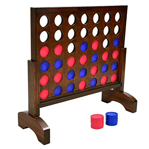 GoSports Giant Wooden 4 in a Row Game  Choose Between Classic White or Dark Stain  2 Foot Width  Huge 4 Connect Family Fun with Coins Case and Rules