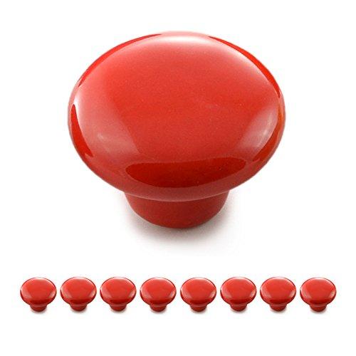 Ganzoo - Set di pomelli per mobili in porcellana e ceramica, maniglie per mobili, armadi e porte, in stile vintage, shabby, antico, Rosso