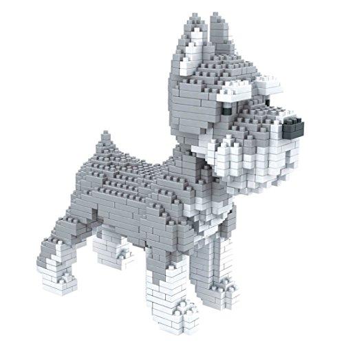 Hund Schnauzer. Figur zum Ausrüsten mit Nanoblöcken. 880 Teile.