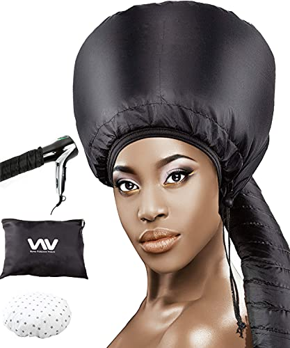 Bonnet Hood Hair Dryer Attachment Set - Soft Adjustable Hooded Bonnet for Hand Held Hair Dryer - Including Mask Cap for Drying Styling Curling Deep Conditioning (Black)