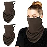 moko bandana copri viso in microfibra da uomo, donna,3 pezzi con reggi orecchie, protezione viso, polvere, bandana universale per uomini donne, taglia unica - caffè