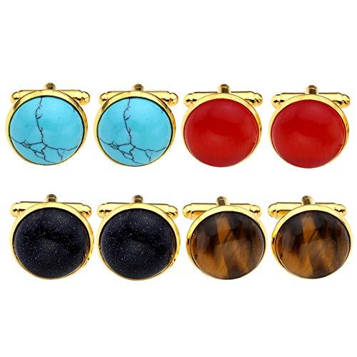 Zysta 4 Pairs Natural Gemstone Round Cufflinks Set for Men Tiger Eye Turquoise Red Cats Eye Blue Sandstone Luxury Elegant Tuxedo Shirts Formal Dress Business Wedding Party Prom Gift