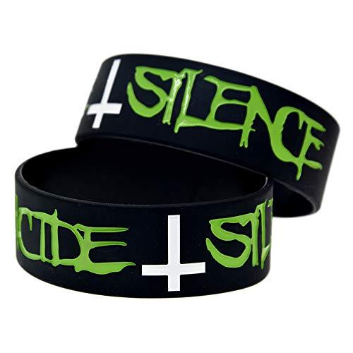 Xi-Link Pulsera De Silicona Silencio De Suicidio Banda De 1 Pulgada Pulsera Estrella Anillo De Mano Pulsera De Silicona (Color : Black)