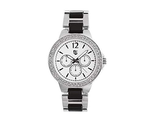 Auriol Damen Uhr Analog Quarz Uhrwerk Armbanduhr Glitzersteine/Silber