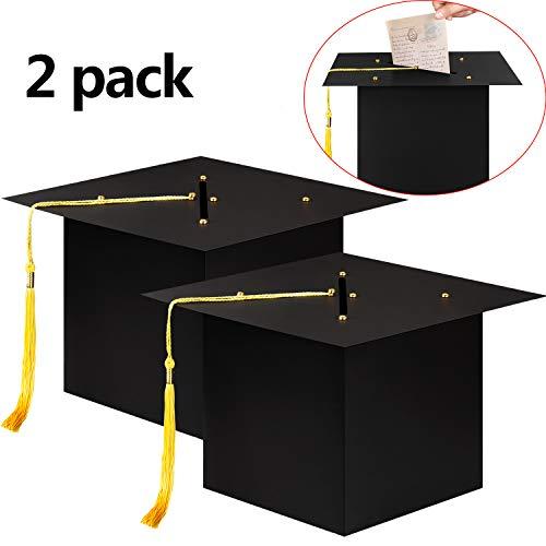 Gejoy 2 Packs Graduation Cap Card Box Grad Card Holder Box with Tassel for Graduation Party Favor Supplies