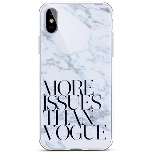 Surakey Cover iPhone X, Ultra Sottile Silicone Morbido Custodia Effetto Marmo con Frasi Flessibile Gomma Soft Touch Protettiva Skin Antiurto Bumper Slim Cover per iPhone X,More Issues