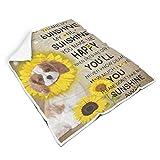 Rinvyintte Sonnenblumenhund geschmeidig leuchtende Farben warme Bettdecke für Schlafzimmer Nicht fusseln für Alle Menschen Warmer Stil White 150x200cm