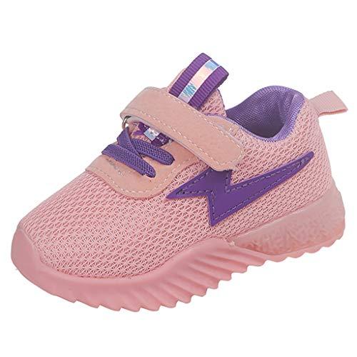 Lazzboy Kinder Baby Mädchen Jungen Atmungsaktives Mesh Led Luminous Sport Run Sneakers Schuhe Sneaker Hallenschuhe Sportschuhe Turnschuhe Laufschuhe Schnürer Freizeit(Rosa,26)