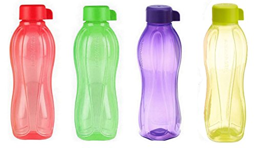 4 X Tupperware Eco Safe Water Bottle (1 Ltr. Each) Assorted Colors by Tupperware