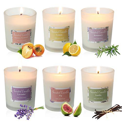 Duftkerze im Glas 100% Sojawachs Kerze Geschenkbox, JOSEKO Damen-Duftkerzen-Geschenkset colorful 6