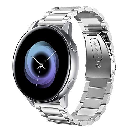 SUNDAREE Compatible con Correa Galaxy Watch Active,20MM Metal Acero Inoxidable Reemplazo Correas Banda Pulseras de Reloj Inteligente con para Samsung Galaxy Watch Active SM-R500(Active Silver)