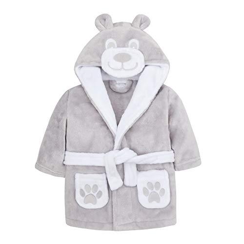 Lora Dora Baby-Bademantel für Jungen und Mädchen Gr. 86, Teddy - Grau