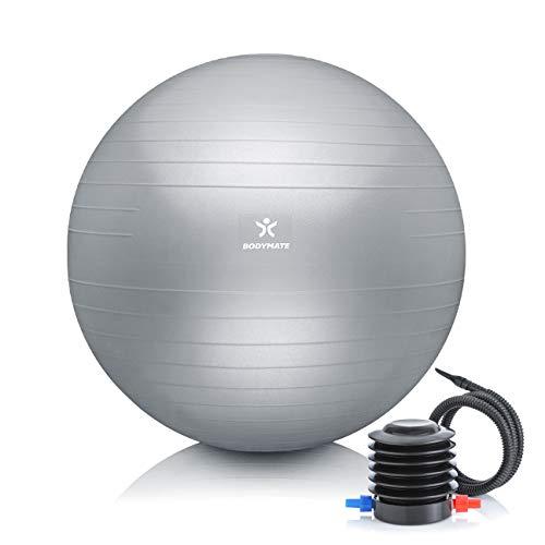 BODYMATE Pelota de Ejercicio para Fitnes | con bombín y Libro electrónico | con Sistema antirreventones