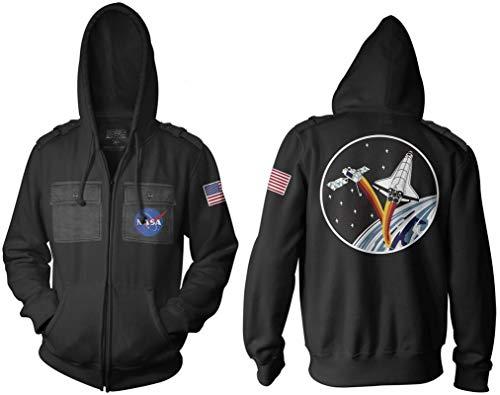 Ripple Junction NASA Adult Unisex Ship and Satellite Military Full Zip Hoodie MD Black