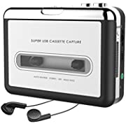 USB Cassette Player, 2018 Latest Cassette Tape to MP3 Converter Retro Walkman Audio Tape Capture to MP3 for Mac PC Laptop with Headphones USB Cable and Software