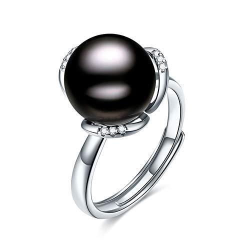 HLMAX Perla Negra Natural 10-11Mm Anillo De Ajustable Anillo De Mujer Plata De Ley 925 con Exquisito Joyero