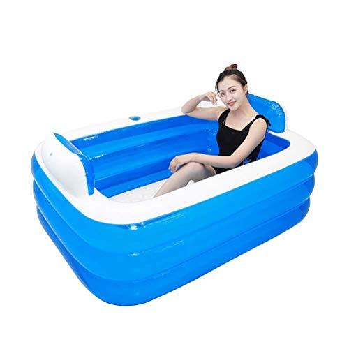 WSJTT Bañera inflable grande para dos personas, plegable para adultos, bañera de pie, bañera, bañera de hidromasaje, bañera doble, cubo de natación de aire portátil (color: azul)
