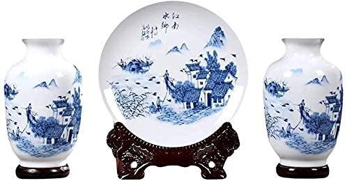 ZXYDD Florero para sala de estar Porcelana azul y blanco Decoración de tres piezas Casa vino Gabinete Decoración Sala Muebles (tres piezas con Base)