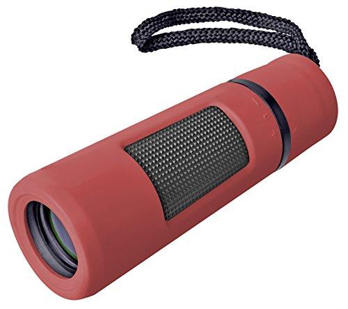 Bresser Monokular Topas 10x25 mit umstülpbarer Augenmuschel, 10-facher Vergrößerung, Griffmulde und Gürteltasche für spontane Beobachtungen, rot