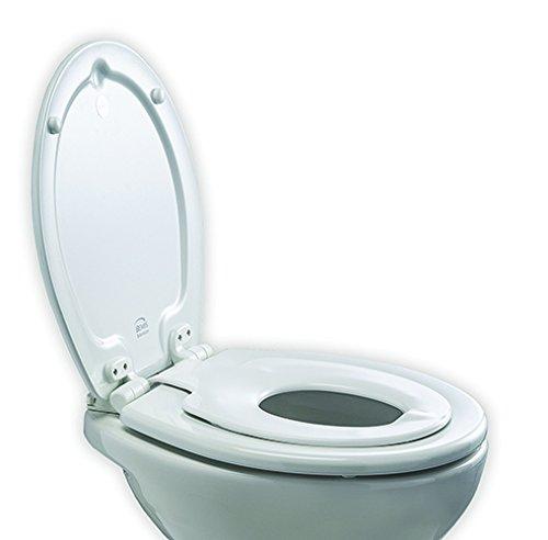 Bemis 4250ELT000 ORLANDO Next Step STA-TITE vormhout/Themplastic WC-bril voor kinderen/volwassenen, met automatische sluiting/SmartLift-scharnieren van kunststof, wit, 43 x 36,5 x 15,5 centimeter