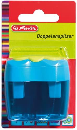 Herlitz Fancy - 1 Sacapuntas Doble, Ergnomico con Deposito, Para Lápices de Colores y Lápices Grafito, Colores Variables