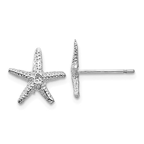 14k White Gold Starfish Post Stud Earrings Ball Button Animal Sea Life Fine Jewelry For Women Gifts For Her