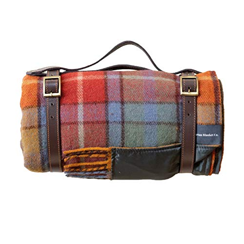 The Tartan Blanket Co. Recycled Wool Picnic Blanket with Brown Leather Strap (Buchanan Antique)