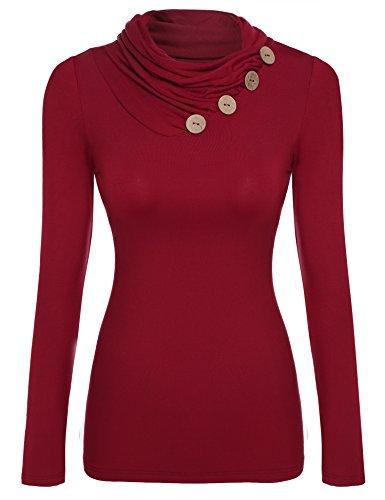 Zeagoo Damen Rollkragen Basic Slim Fit Shirt Langarmshirt Top Bluse, Weinrot_a, EU 40(Herstellergröße:L)