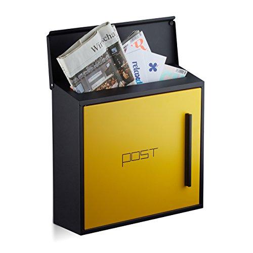 Relaxdays Briefkasten gelb modern Zweifarben Design, DIN-A4 Einwurf, Stahl, groß, HxBxT: 33 x 35 x 12,5 cm, schwarz-gelb