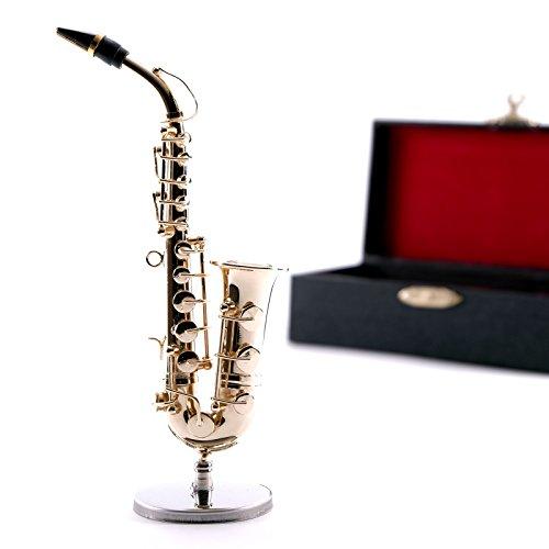 DESIGN DELIGHTS Miniatur DEKO Instrument Saxophon | 14 cm, auf Ständer, Metall | Musikinstrumente