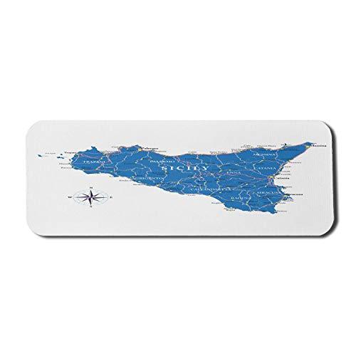 Alfombrilla de ratón para Ordenador de Sicilia, Mapa geográfico de la Isla del Sur de Italia con Ciudades, autopistas y Carreteras Principales, Alfombrilla Rectangular de Goma Antideslizante, Grande,