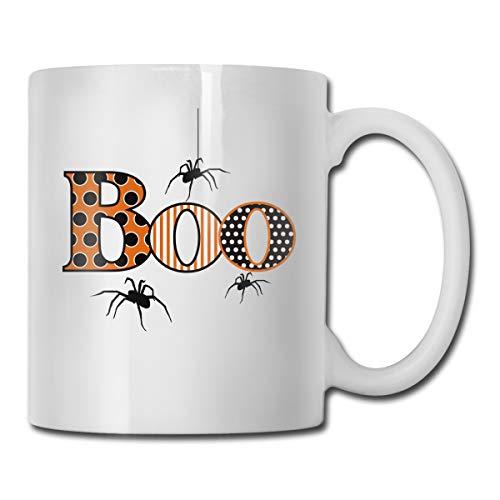 Funny Coffee Mug Boo Spiders Halloween Coffee Tea Cup Unique Festival Birthday Present for Men Women 11 Ounce