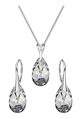 Crystals & Stones *MANDEL* Schmuck-Set *VIELE FARBEN* Silber 925 Schön Damen Schmuckset mit Kristallen von Swarovski Elements - Wunderbare Ohrringe und Halskette mit Geschenkbox (CAL)