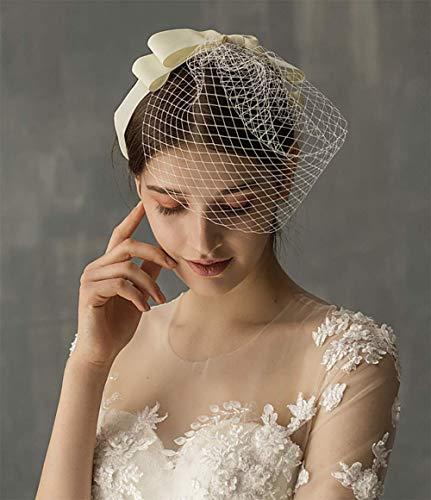 Deniferymakeup White Bridal Veil Hat Birdcage Bowknot Tulle Veil Soft with Comb Short Wedding Veil for Bride